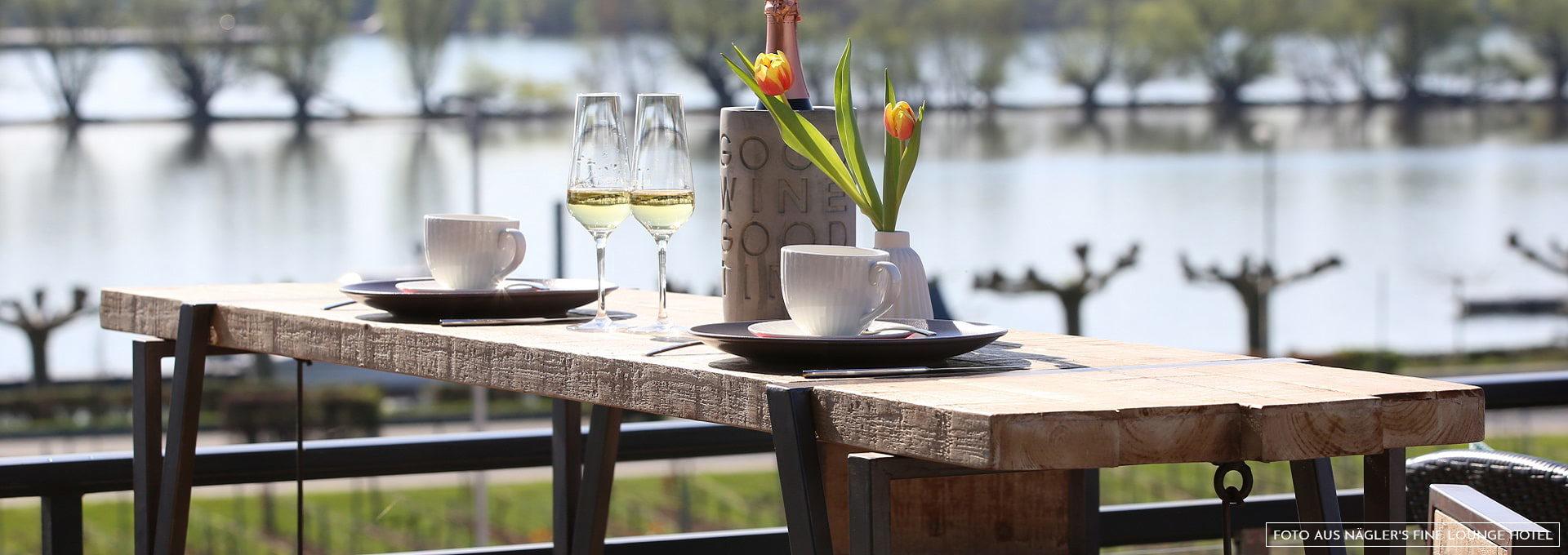 Rheinblick Terrasse Näglers Fine Lounge Hotel Oestrich-Winkel